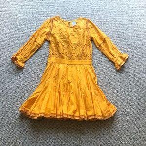 MISA Los Angeles Yellow Flare Mini Dress Medium
